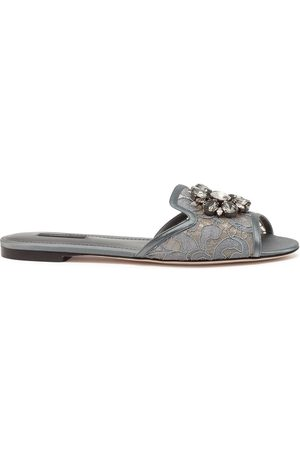 Dolce & Gabbana Embellished-detail slip-on sandals - Grey
