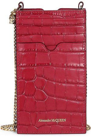 Alexander McQueen Women's Croc-Embossed Leather Crossbody Phone Case - Rasberry