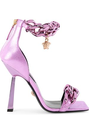 VERSACE Women's Medusa Chain Metallic Sandals - - Size 38.5 (8.5)