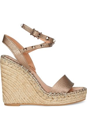 VALENTINO Women's Garavani Rockstud Metallic Leather Espadrille Wedges - - Size 41 (11)
