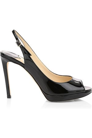Jimmy Choo Women's Nova Peep-Toe Patent Leather Slingback Platform Pumps - - Size 37 (7)