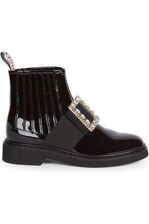 Roger Vivier Women's Viv Rangers Strass Patent Leather Chelsea Boots - - Size 41.5 (11.5)