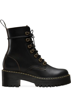 Dr. Martens Women's Leona Leather Combat Boots - - Size 9 UK (11 US)