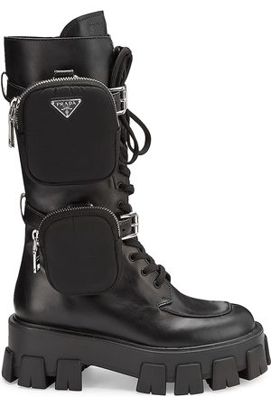 Prada Women Thigh High Boots - Pocket Lug-Sole Tall Leather Combat Boots