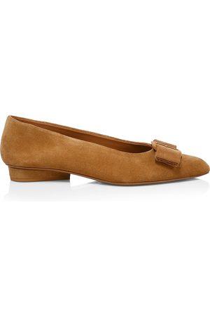 Salvatore Ferragamo Women's Viva Bow Suede Ballerina Flats - - Size 10.5
