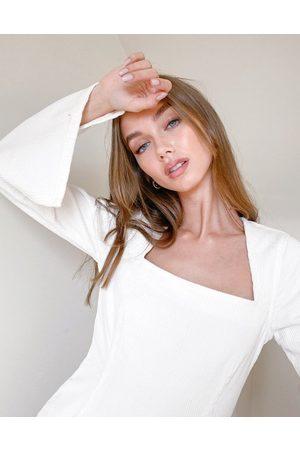 ASOS Split sleeve mini dress in cream corduroy