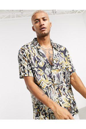 Bershka Men Shirts - Printed shirt in -Neutral