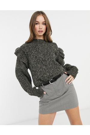 Topshop Frill sleeve cable knit sweater in charcoal-Grey