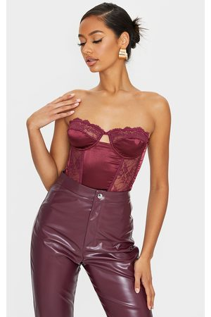 PRETTYLITTLETHING Women Strapless Tops - Burgundy Lace Bandeau Satin Panelled Corset