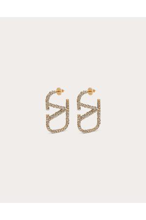VALENTINO GARAVANI Women Earrings - Vlogo Signature Earrings In Metal And Swarovski® Crystals. Women Brass 100% OneSize