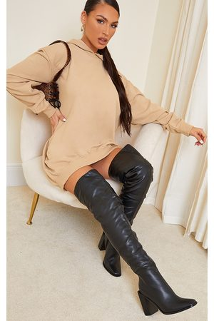 PRETTYLITTLETHING Women Thigh High Boots - High Block Heel Faux Leather Thigh High Boots