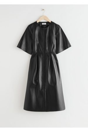 & OTHER STORIES Buttoned Relaxed Leather Midi Dress