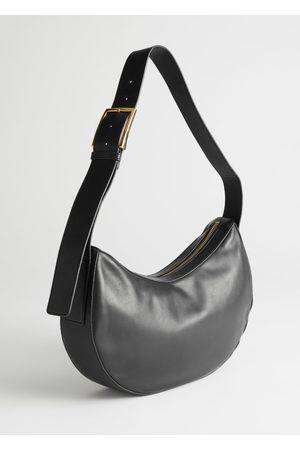 & OTHER STORIES Buckled Strap Leather Shoulder Bag
