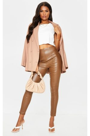 PRETTYLITTLETHING Chocolate Faux Leather Stretch Leggings