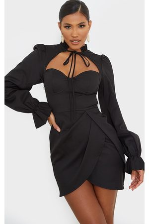 PRETTYLITTLETHING Tie Neck Puff Sleeve Wrap Skirt Bodycon Dress