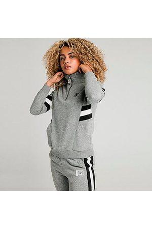 SikSilk Women's Quarter-Zip Fleece Top in Grey