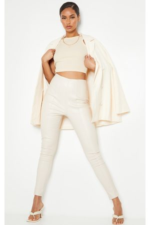 PRETTYLITTLETHING Stone Faux Leather Stretch Leggings