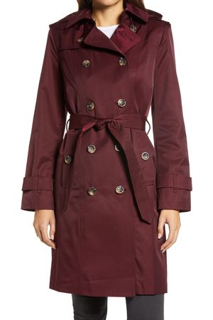 London Fog Women's Double Breasted Trench Coat With Removable Hood