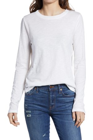 Madewell Women's Whisper Cotton Rib Crewneck Long Sleeve T-Shirt