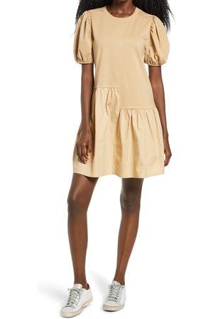 English Factory Women's Puff Shoulder Mixed Media Minidress