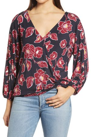 Loveappella Women's Floral Print Double Surplice Knit Top