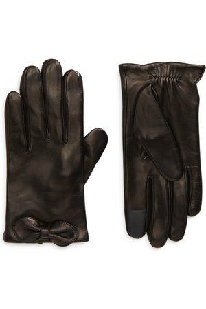 Kate Spade Women's Logo Bow Leather Tech Gloves