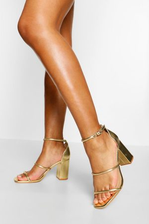 Boohoo Womens Triple Strap Block Heel Sandals - - 5