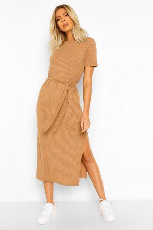 Boohoo Womens Tall Soft Rib Belted Midi Dress - - 2
