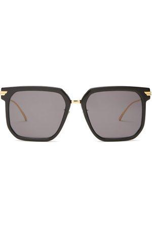Bottega Veneta Square Acetate And Metal Sunglasses - Womens - Grey
