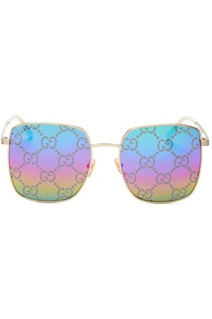 Gucci GG-rhombus Mirrored Square Metal Sunglasses - Womens - Multi