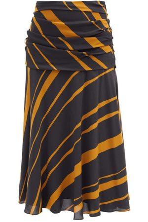 Proenza Schouler Diagonal-stripe Ruched Crepe De Chine Midi Skirt - Womens - Khaki Multi