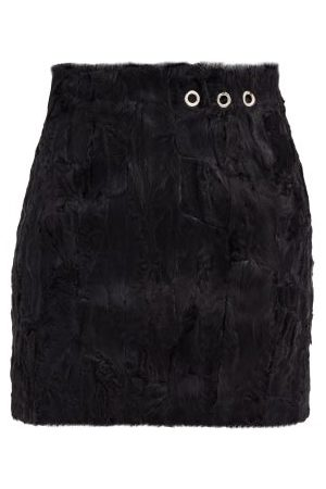 Ludovic De Saint Sernin Eyelet Shearling Mini Skirt - Womens