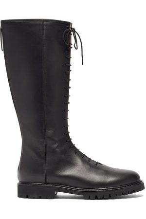 LEGRES Lace-up Knee-high Leather Boots - Womens