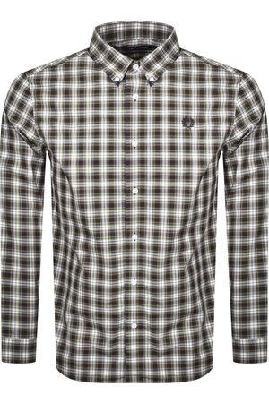 Fred Perry Tartan Long Sleeved Logo Shirt Navy