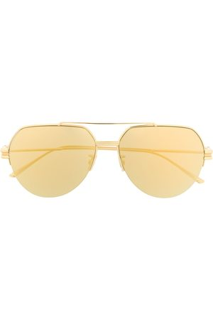 Bottega Veneta Half-rim aviator-frame sunglasses