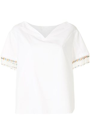DELPOZO Heart neckline bead trim T-shirt