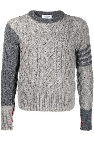 Thom Browne Aran cable-knit 4-Bar jumper - Grey