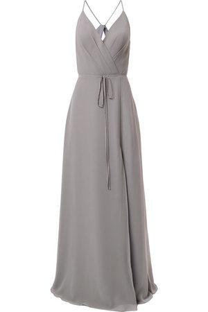 Marchesa Notte Bridesmaids V-neck tie waist evening gown - Grey