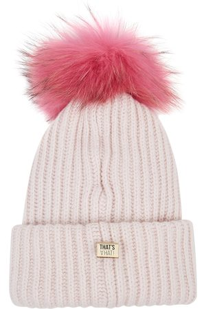 THAT'SAHAT Women Beanies - Light grey fur pompom wool-blend beanie