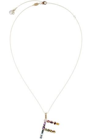 Dolce & Gabbana 18kt yellow initial F gemstone necklace