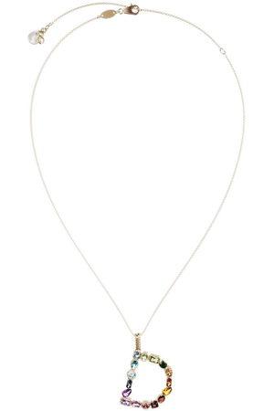 Dolce & Gabbana 18kt yellow initial D gemstone necklace