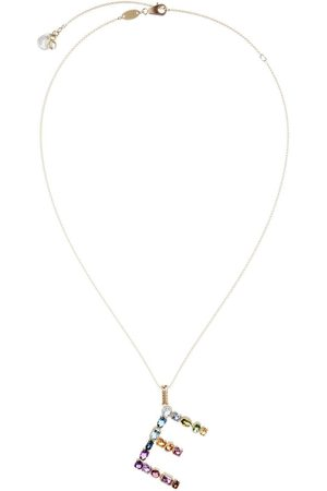 Dolce & Gabbana 18kt yellow initial E gemstone necklace