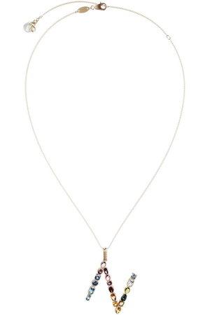 Dolce & Gabbana 18kt yellow initial N gemstone necklace