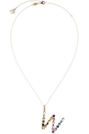 Dolce & Gabbana 18kt yellow initial W gemstone necklace
