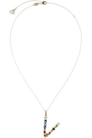 Dolce & Gabbana 18kt yellow initial V gemstone necklace