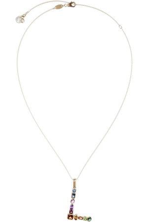 Dolce & Gabbana 18kt yellow initial L gemstone necklace