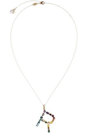 Dolce & Gabbana 18kt yellow initial R gemstone necklace