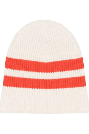 Cashmere In Love Women Beanies - Striped ribbed-knit beanie - Neutrals