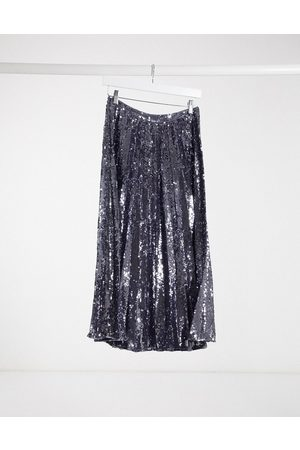 ASOS Sequin pleated midi skirt in gunmetal-Grey