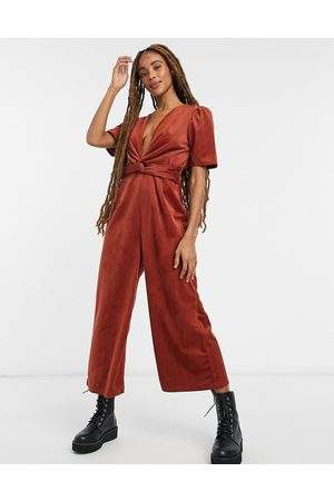 ASOS Plunge knot front corduroy jumpsuit in